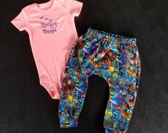 Harry Potter Inspired Mischief Managed Creeper and Pants Set