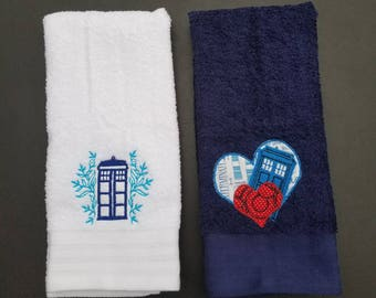 SALE - Embroidered Doctor Who Hand Towel