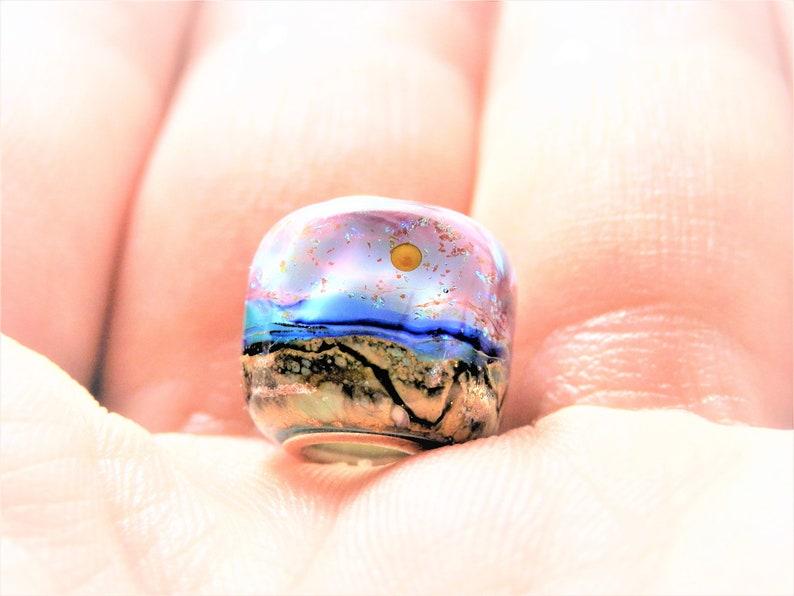 Sunset Beaches Sterling Silver European Charm Bracelet Bead Glass Focal Bead Big Hole Bead Charm