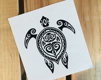3b4789f0b Tribal Hawaiian Sea Turtle Vinyl Decal Sticker