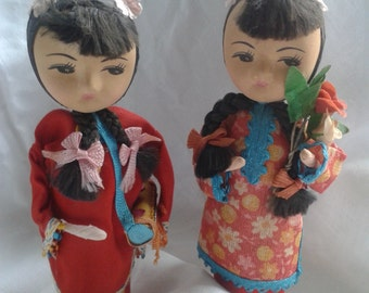 Two Chinese Girl Dolls Vintage Collectibles