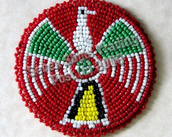"3-Inch Thunderbird Beaded Rosette - Red ""NEW"""