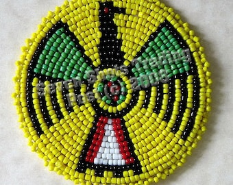 "3-Inch Thunderbird Beaded Rosette - Yellow ""NEW"""