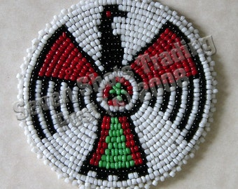 "3-Inch Thunderbird Beaded Rosette - White ""NEW"""