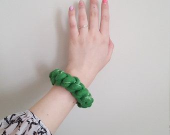 Green Chunky Felted Crochet Bangle