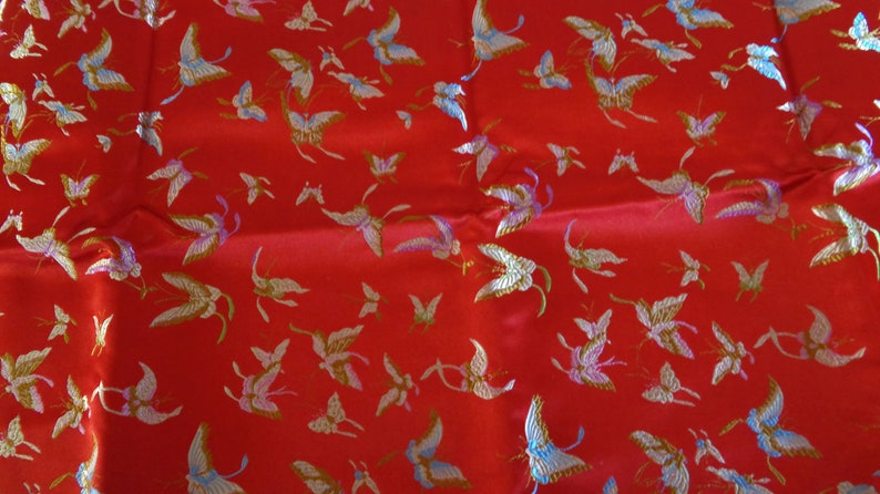 Chinese red silk brocade over 2 yards of woven damask fabric cheongsam with butterfly pattern