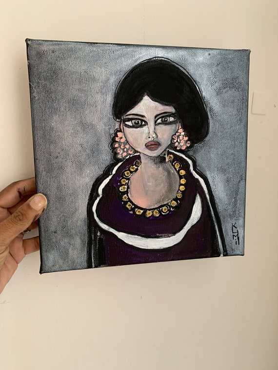 Big Eyes Woman Portrait Original Painting Inspired By Margaret Etsy