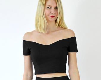 Womens Off Shoulder Bardot Top Ladies Peplum Frill Stretch Skater Top Vest 8-22