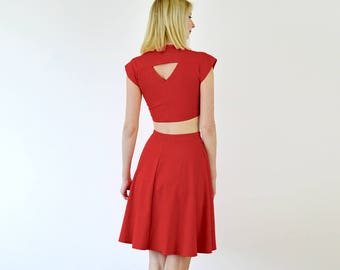 Lupe High Waist Two Piece Set with Crop Top and Skirt in Red. Elastic Waist Skater Skirt and Crop Top Set. Vintage 40s Style Crop Top Set