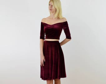 SPECIAL EDITION Coco 2-Piece Stretch Velvet Dress Outfit. Off Shoulder Crop Top with Plush Skater Skirt Velour Christmas Party Dress in Red