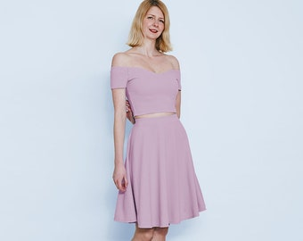 90d30d3f20b02f Coco Off Shoulder Neck Two Piece Midriff Co-Ord Set in Pastel Lilac. Summer  Pastel Sundress in Lilac. Lilac Purple Two Piece Formal Outfit