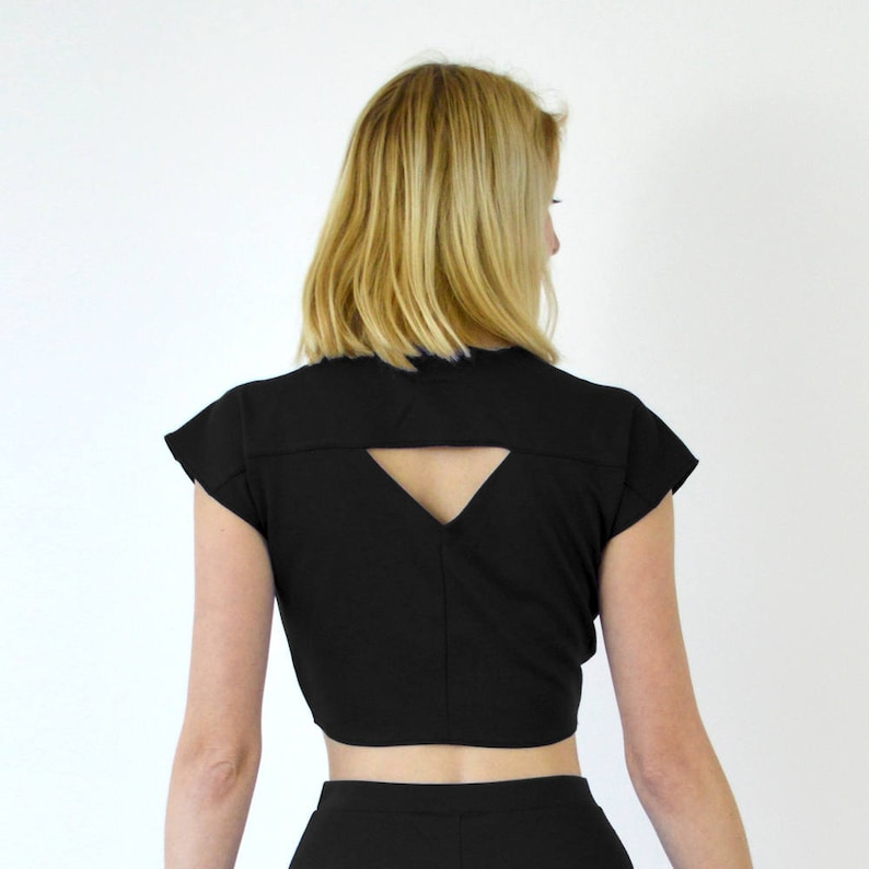 9534f8e0d13327 Ava Vintage-Inspired Black Tie-Up Crop Top. Riviera Beach