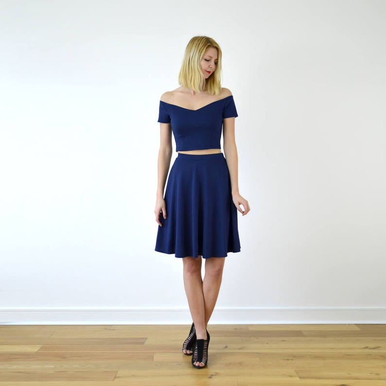 a391988a84f Coco Navy Blue Wedding Jersey Two Piece Crop Top and Skater