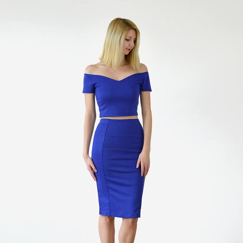 c5e25a543214 Casual Summer Wedding Two Piece Set in Royal Blue for Bride