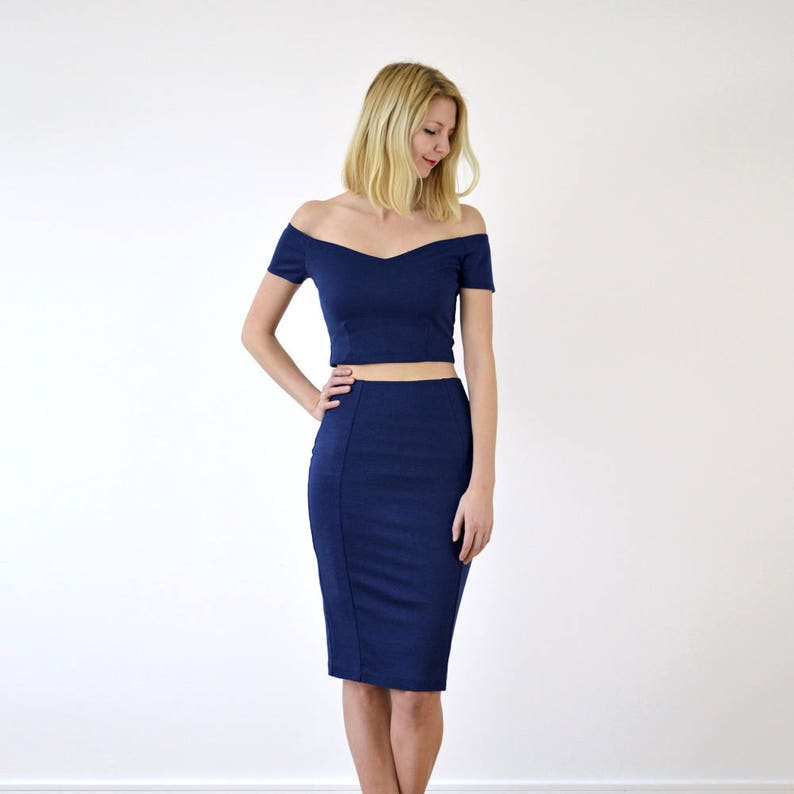 90d31e6c3db AUDREY Womens Pencil Skirt with Matching Crop Top in Navy | Etsy