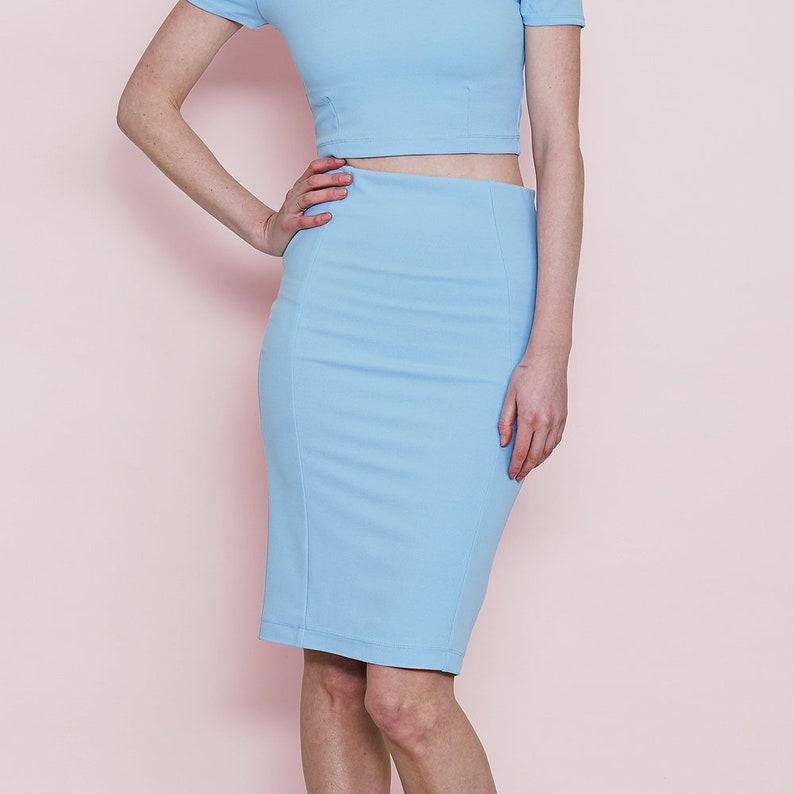 6ce663e6428c7a Summer Pastel Blue Pencil Skirt. High Waist Pastel Pencil