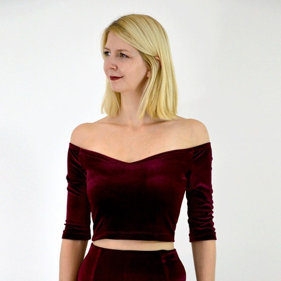 1e6f88849a0 Coco Party Going Out Burgundy Velour Crop Top. Stretch Velvet | Etsy