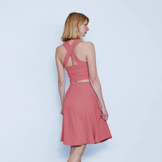 Grace Pastel Formal Two Piece Dress In Dusky Pink Pastel Pink Etsy