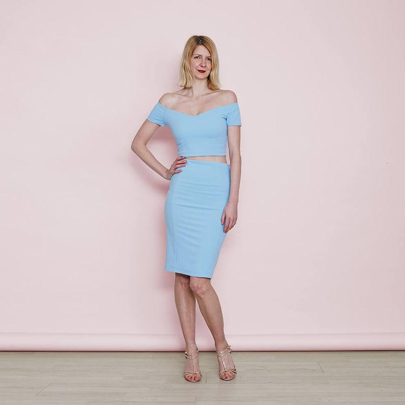 c8ef59fa4b4 AUDREY Women's Pastel Blue Two Piece Dress Set with Crop | Etsy