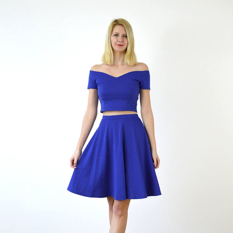 Casual Wedding Royal Blue Two Piece Dress Smart Casual Outfit Etsy