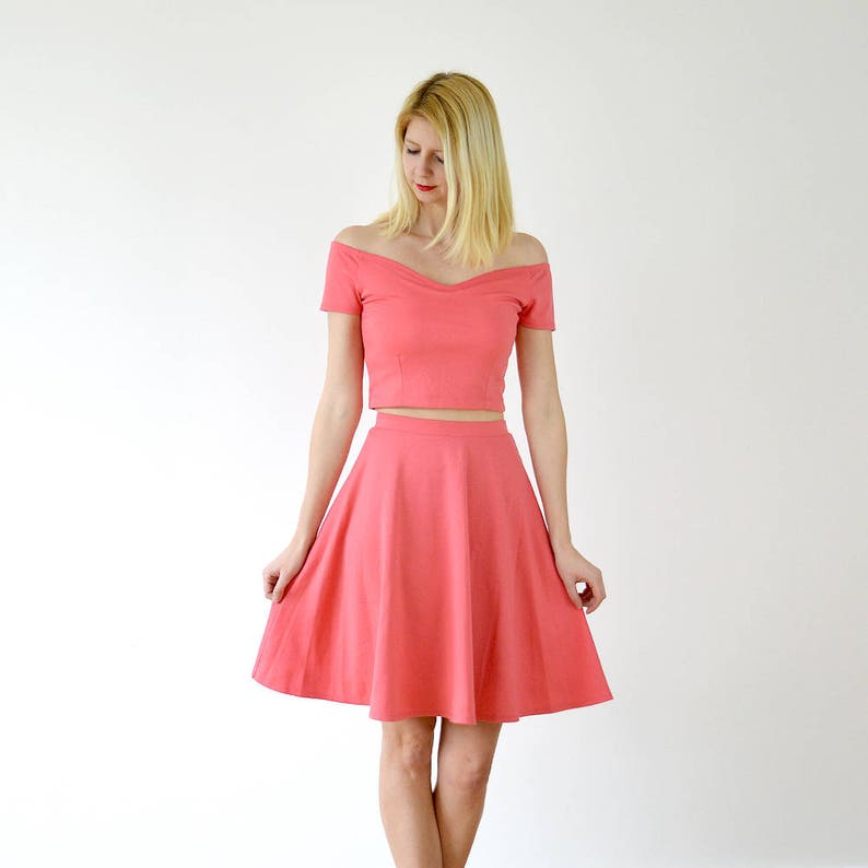 be1b90a0909 Modern Vintage Two Piece Bridesmaid Outfit in Coral Pink. Off | Etsy