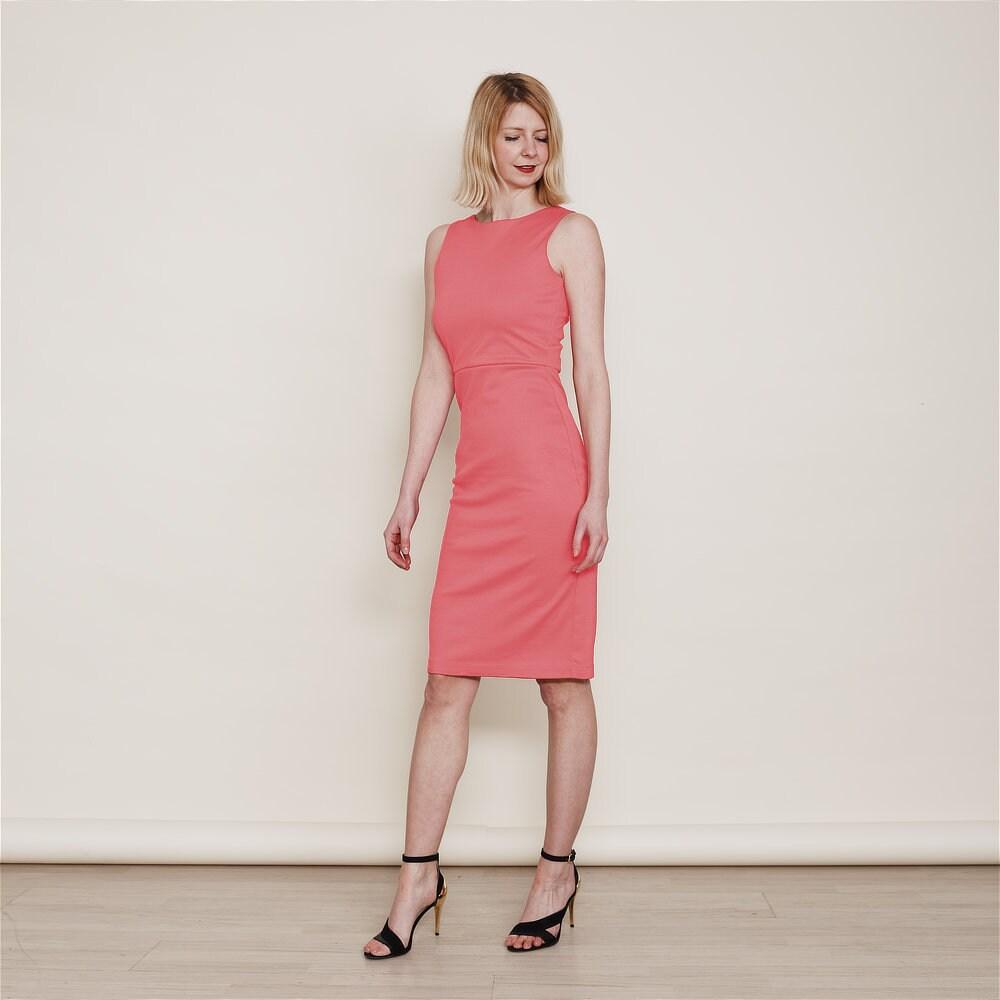 Marilyn Coral Pink Bridesmaid Dress. Summer Wedding Dress