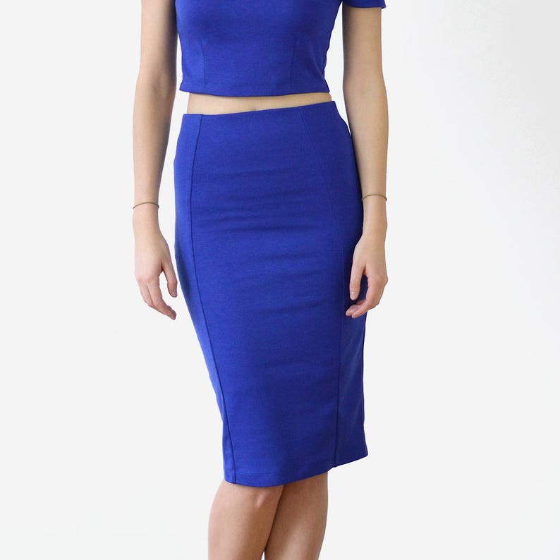 f53195f5ad Womens Stretchy Pencil Skirt Bodycon Midi Skirt Fitted Knee   Etsy