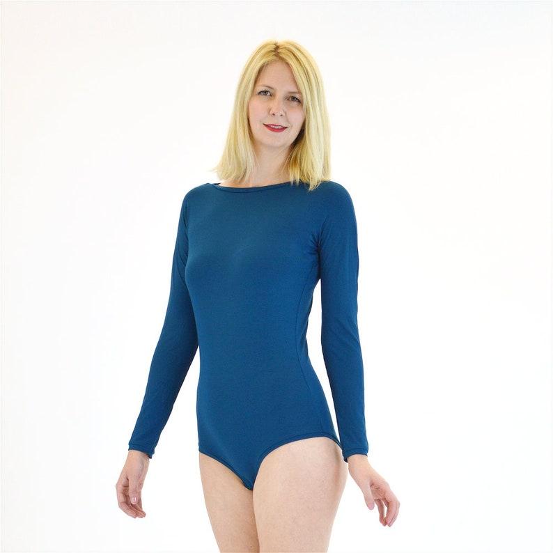 Teal Bodysuit Teal Blue Leotard Vintage Style Bodysuit Sabrina Teal Blue Long Sleeve Bodysuit Elegant High Neck Bodysuit with Sleeves