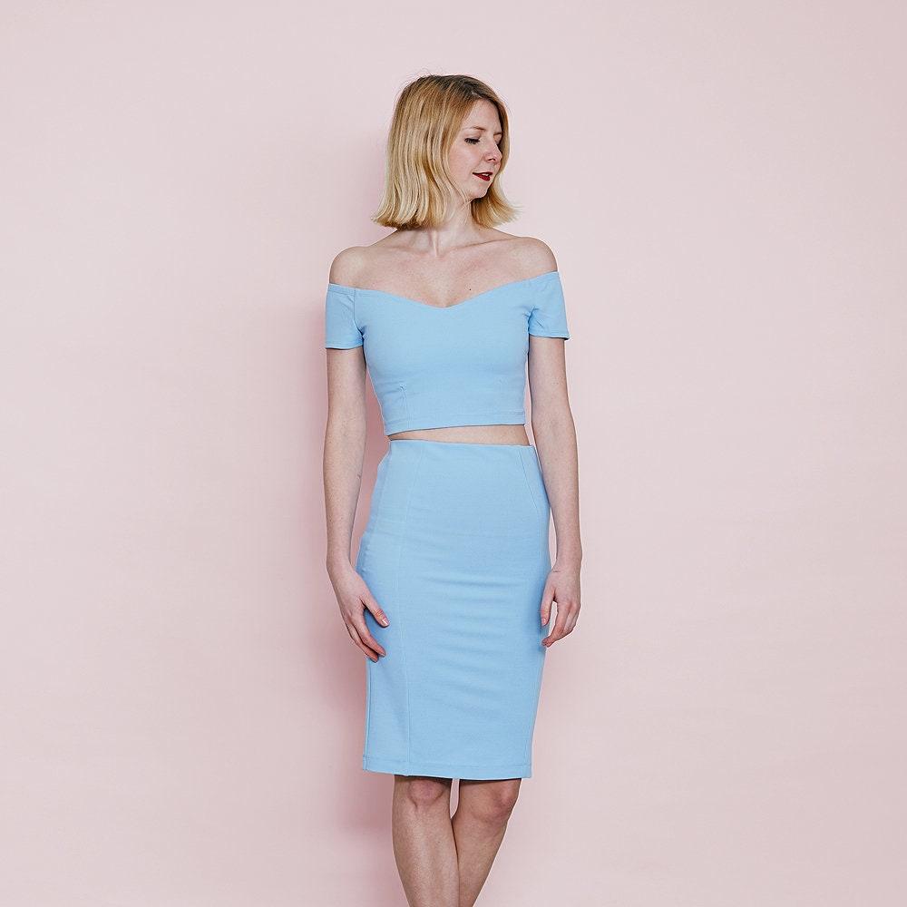 b4a1decd2601e8 Audrey Wedding Crop Top and Skirt Set Pastel Blue. Pastel