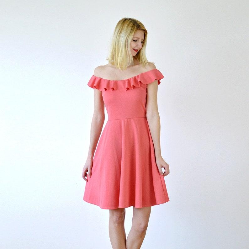 34e0a7d6f267 GINGER Off-Shoulder Midi Dress with Ruffle Trim. Bardot Neck