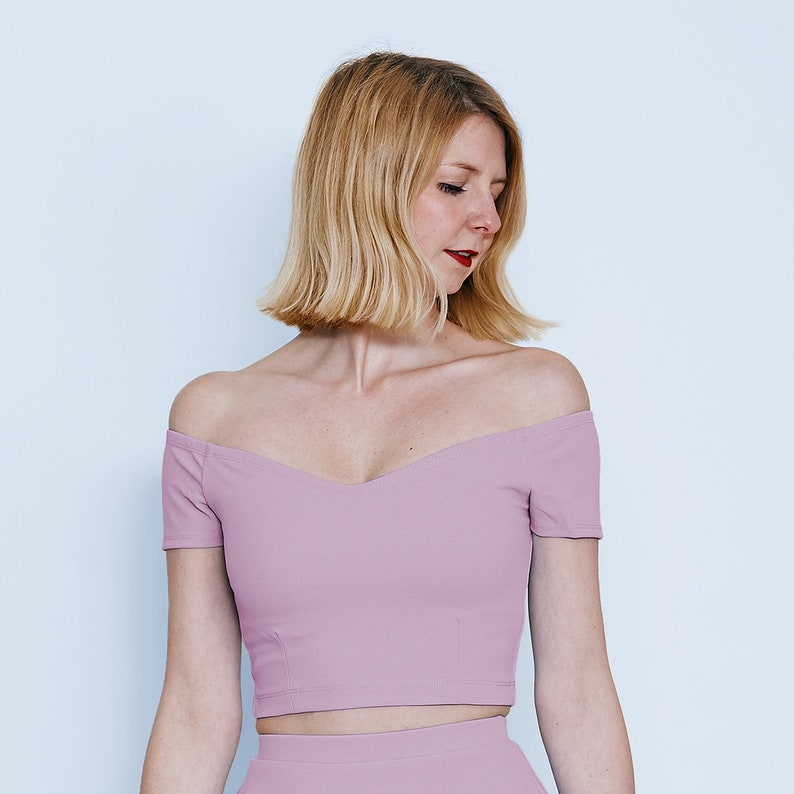 89280338cb966 Lilac Off Shoulder Top. Pastel Coloured Midriff Tops. Pastel