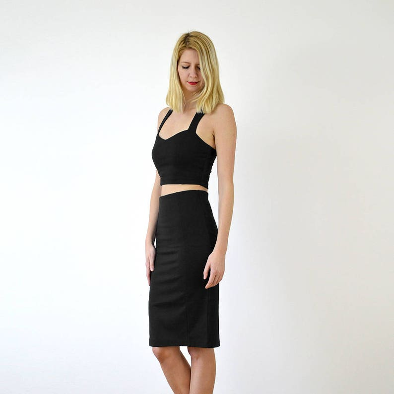 KIRSTEN Two Piece Jersey Crop Top Bralet and High Waisted Pencil Skirt Set in Black