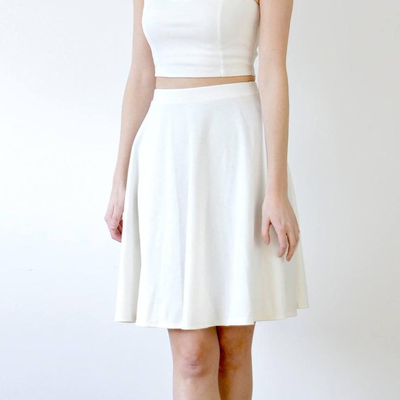 Stylish White Midi Length Floaty Skater Skirt. Womens White  7daed9ce9