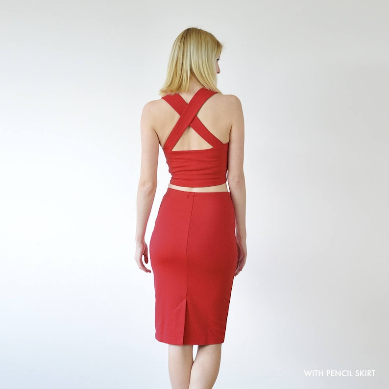 Choose from Skater Skirt with Top or Pencil Skirt with Top Kirsten or Grace Red Sweetheart Neck Jersey Crop Top and Skirt Two Piece Dress