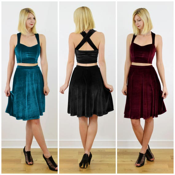 Grace Modern Cocktail Evening Dress Co Ord in RedTealBlack Stretch Velvet. Elegant Two Piece Crop Top and Skirt Women's Party Dress.