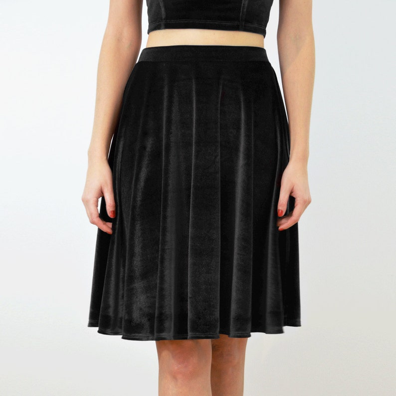b0f703f84645 Black Velvet/Velour Jersey High Waisted Skater Skirt. Dress | Etsy
