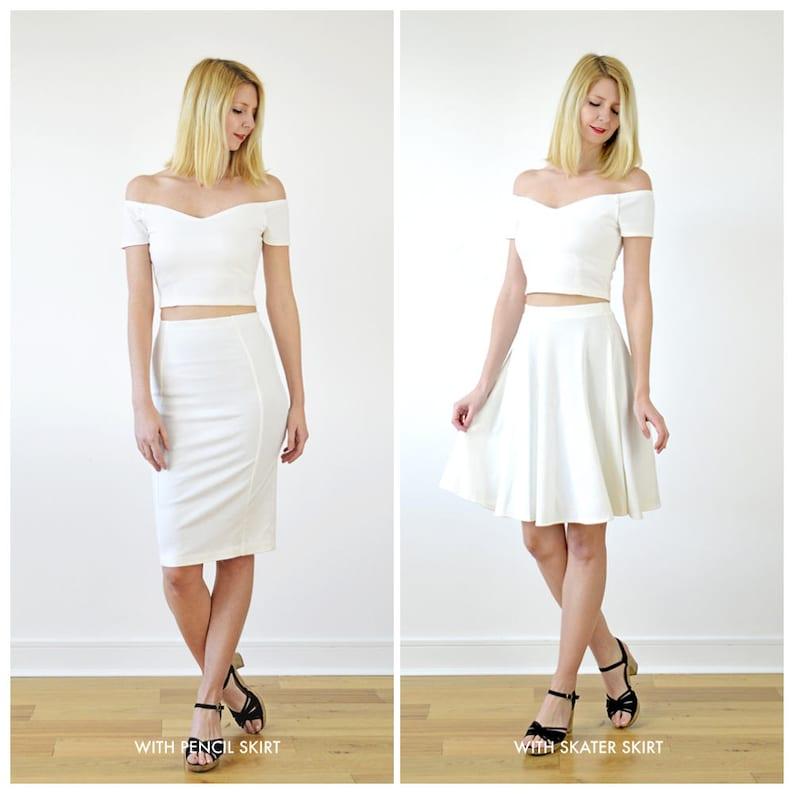 Short Sleeve Bardot Top OFF SHOULDER TOP Fitted Crop Top White Crop Top. White Off the Shoulder Top