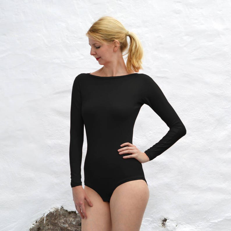7404db22481b Sabrina One Piece Black Jersey Bodysuit with Long Sleeves.