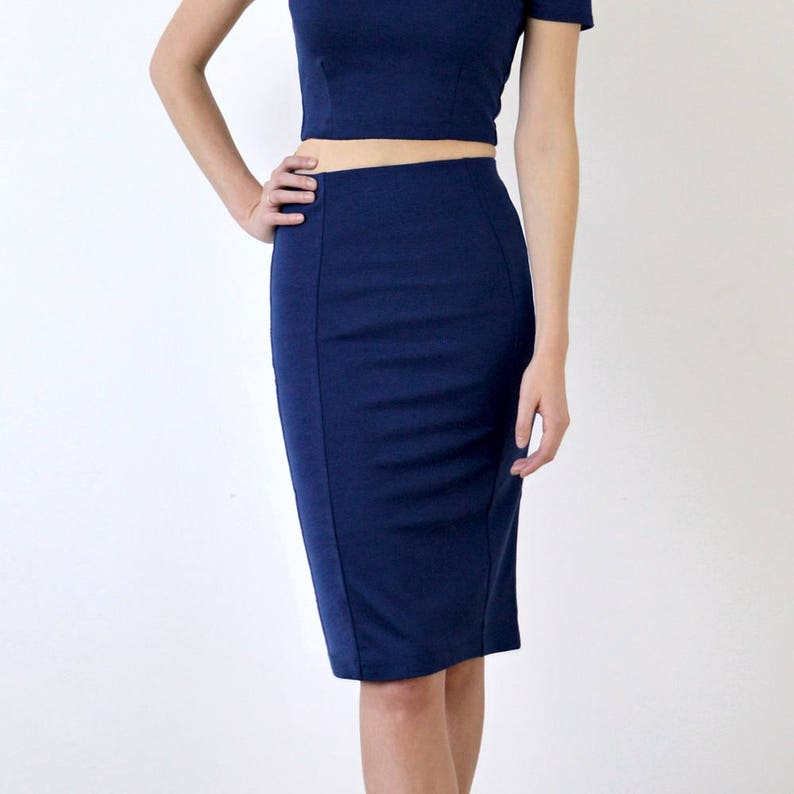 5455f1a5de Womens High Waisted Midi Pencil Skirt in Navy Blue. Smart | Etsy