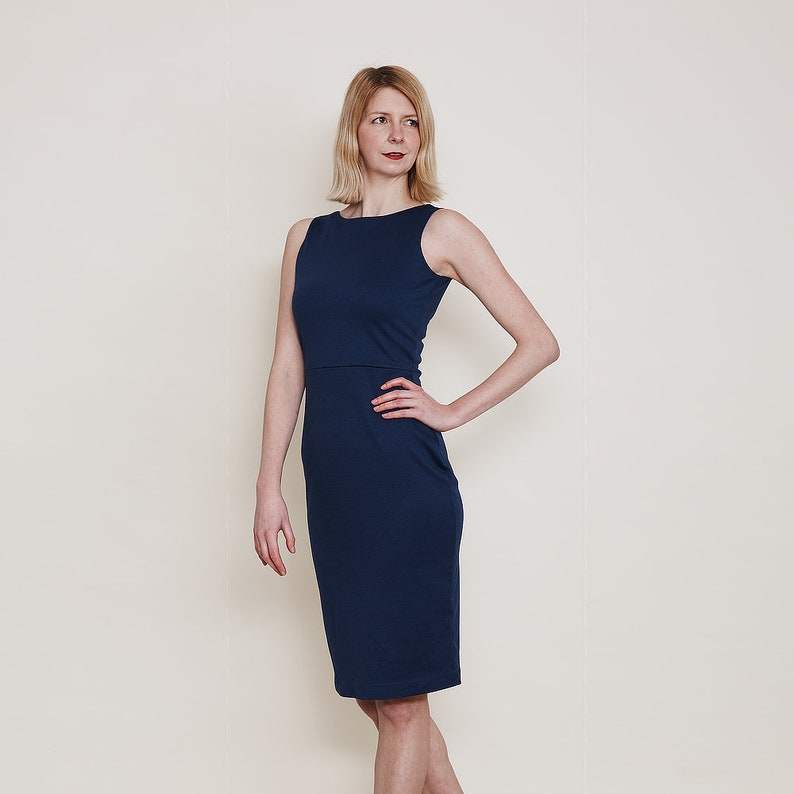 Navy Scoop Neck Dress