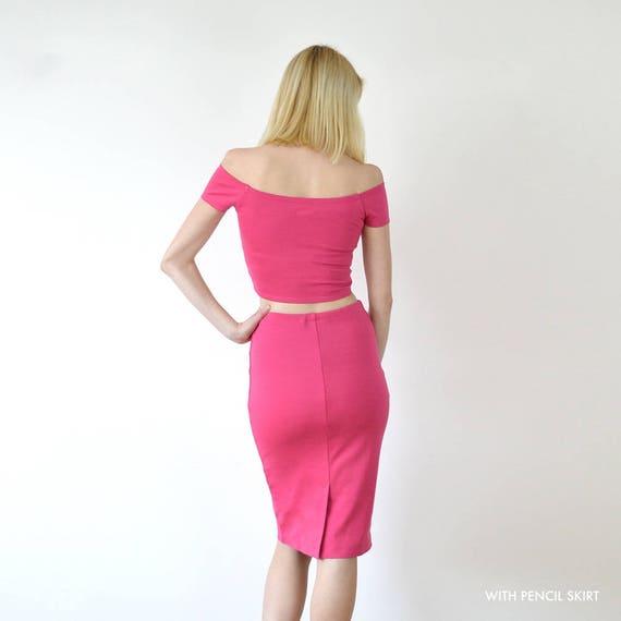 Pink Floral Velvet Stretch Fitted High Waist Skirt Set