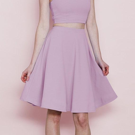 7198b8705fd7 Pastel High Waist Skater Skirt in Lilac. Women's Purple | Etsy
