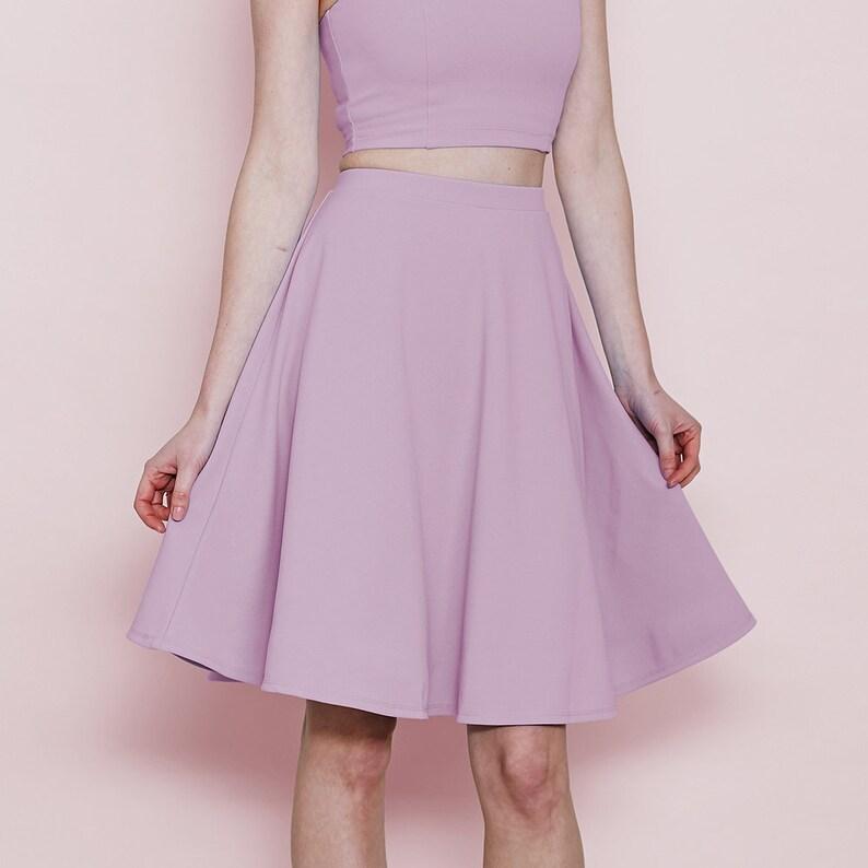 918935203ea7 Pastel High Waist Skater Skirt in Lilac. Women's Purple | Etsy