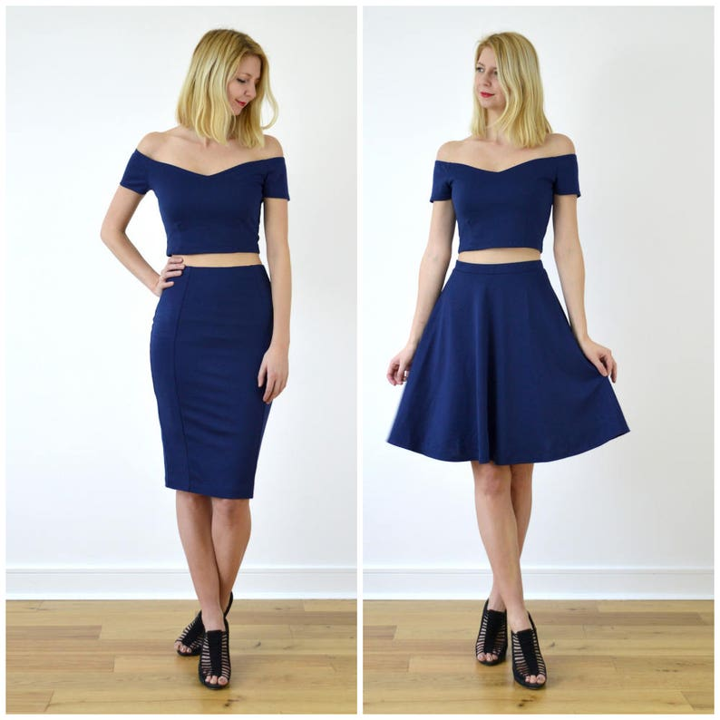 99066094249 Audrey or Coco Off Shoulder Two Piece Dress in Navy. Choose | Etsy