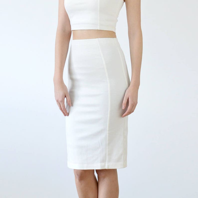 62188ad584 Stretchy Elegant Women's Bodycon White Pencil Skirt with a | Etsy