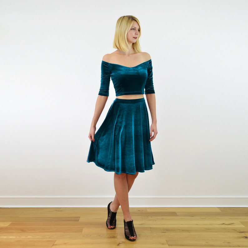 Christmas Party Dress in Teal Blue COCO 2-Piece Velvet Dress Outfit Off Shoulder Crop Top with Velour Skater Skirt