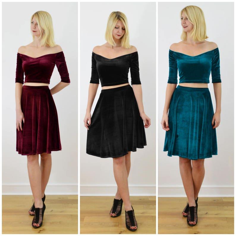 9a29ed41a8c Coco Off Shoulder Velvet Evening Two Piece Dress. Vintage | Etsy