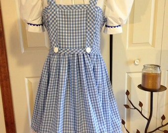 Wizard of Oz Dorothy Outfit for Little Girls size 2T to 12 or size 28 chest.