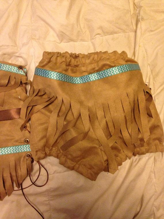 Donna TORTA Camoscio Indiani Costume Principessa Pocahontas Outfit