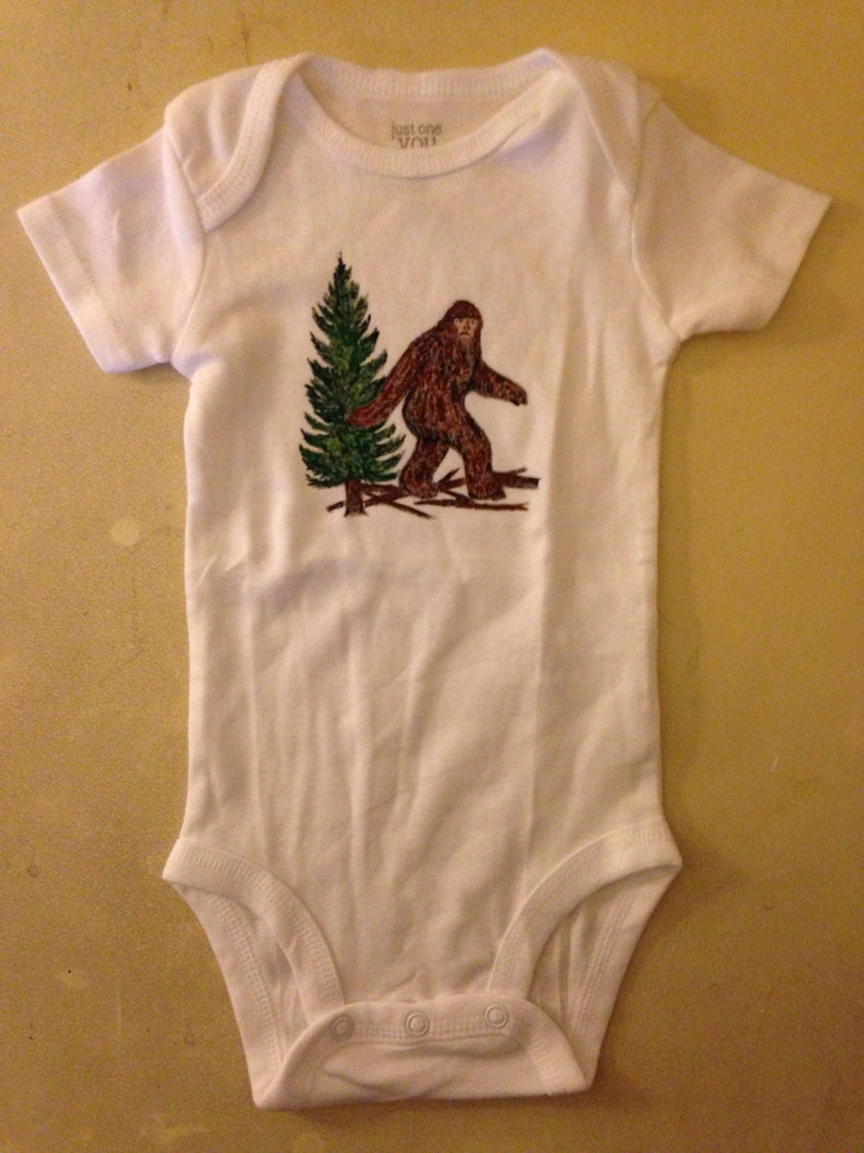 9b30f73b8 Baby Onesie Big Foot Sasquatch Design Hand Painted sizes 3 mon | Etsy